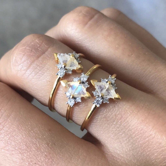 14k Gold Vermeil Luna Statement Ring in Moonstone & Diamond Ring uv overseas