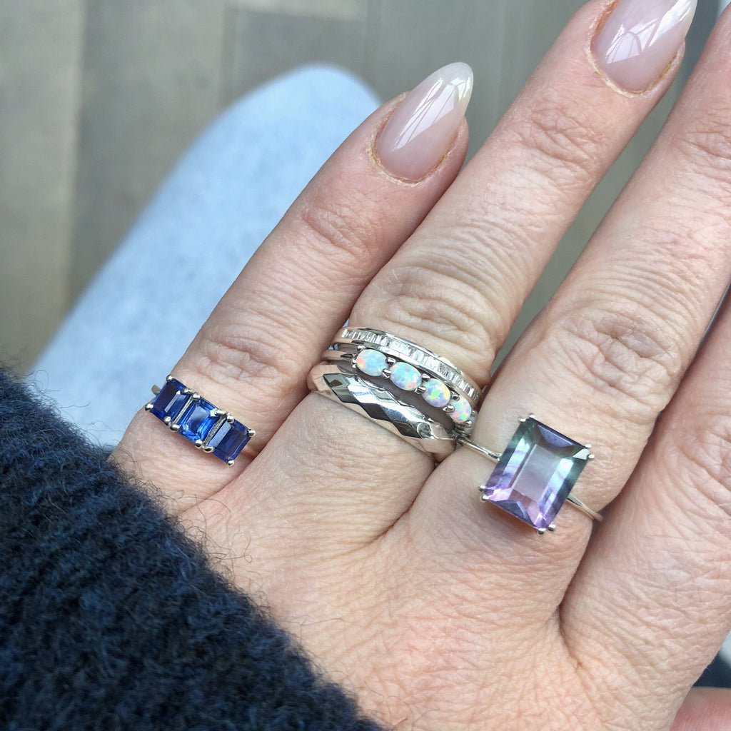 Sterling Silver Fluorite Prong Set Ring - DUE TO LAUNCH 17TH MARCH Ring Pink City