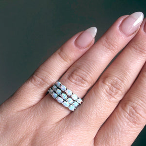 Sterling Silver Orbit Ring in White Opal