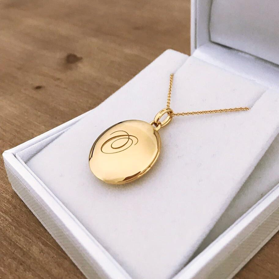 14k Gold Vermeil Engraved Initial Locket Necklace with Diamond Detail Necklace VJI Gold Vermeil O