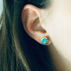 Copper Turquoise Stud Earrings In Gold Vermeil