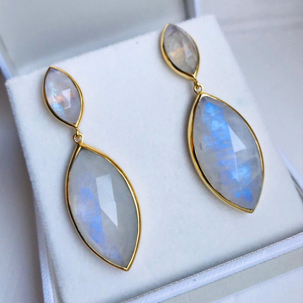 14k Gold Vermeil Marquise Statement Earrings in Moonstone  bride, earrings, Gold, Moonstone, over-80, Semi Precious, Statement