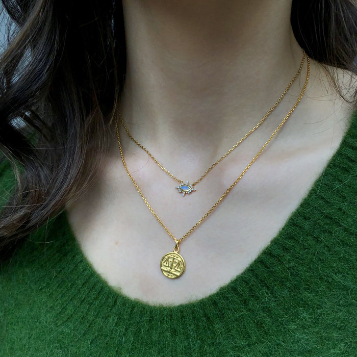 14k Gold Vermeil Horoscope Zodiac Pendant Necklace