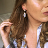 14k Gold Vermeil Marquise Statement Earrings in Moonstone - Carrie Elizabeth