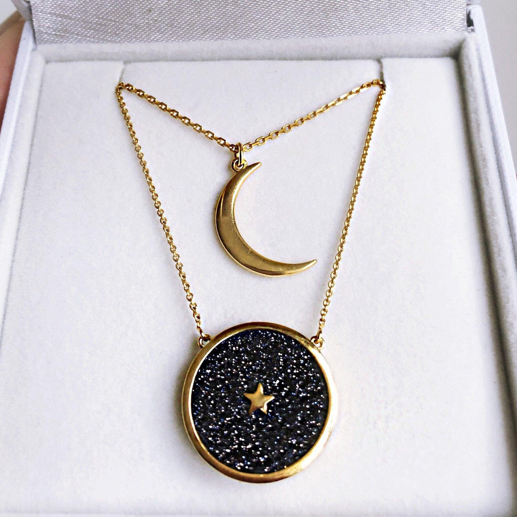 "14k Gold Vermeil New Moon Pendant Necklace  100k10, 18"", Best Seller, Cosmos, Gold, necklace, over-80, Valentines"
