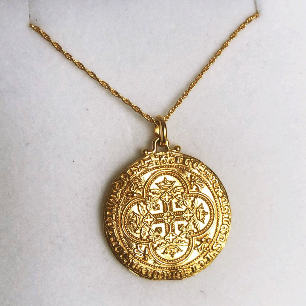 14k Gold Vermeil Heirloom Coin Necklace Necklace uv overseas