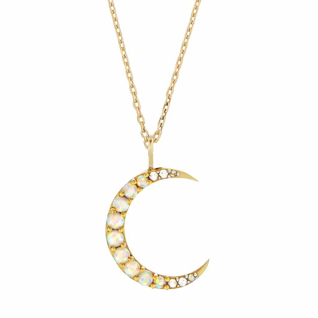 14k Gold Vermeil Opal & White Topaz Crescent Moon Pendant Necklace Pink City