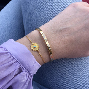 14k Gold Plated Diamond Star Set Cuff