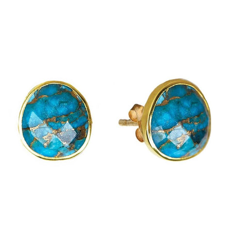 14k Gold Vermeil  Copper Turquoise Stud Earring