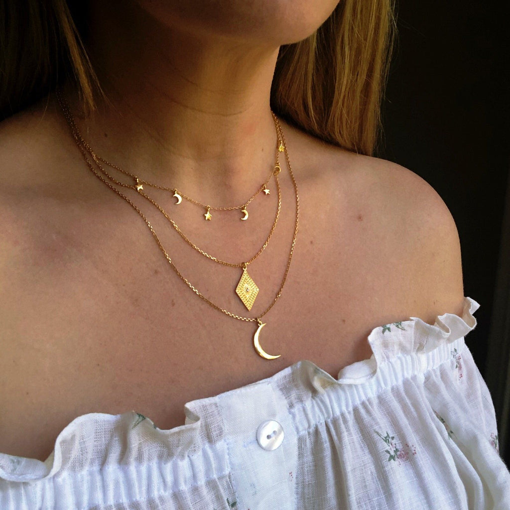 14k Gold Vermeil Mini Hanging Charm Necklace in Moon & Stars Necklace Malya