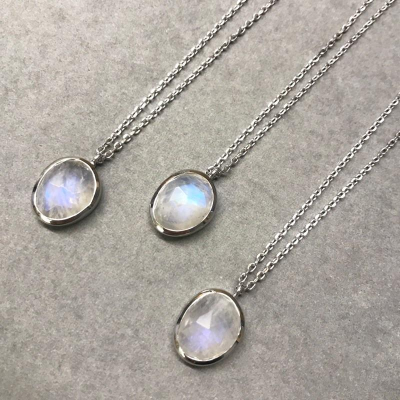 "Sterling Silver Semi Precious Stone Pendant in Moonstone  16"", bride, Bridesmaid, Moonstone, necklace, Organic, Semi Precious, Silver, under-80"