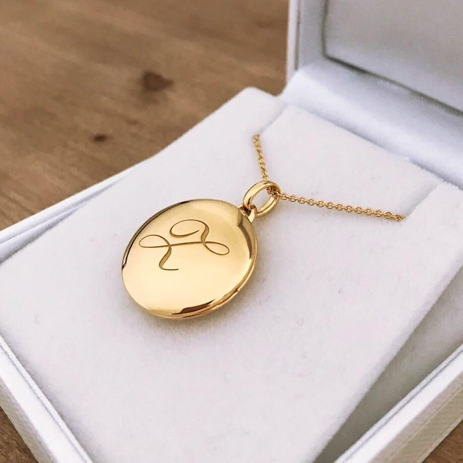 14k Gold Vermeil Engraved Initial Locket Necklace with Diamond Detail Necklace VJI Gold Vermeil Z