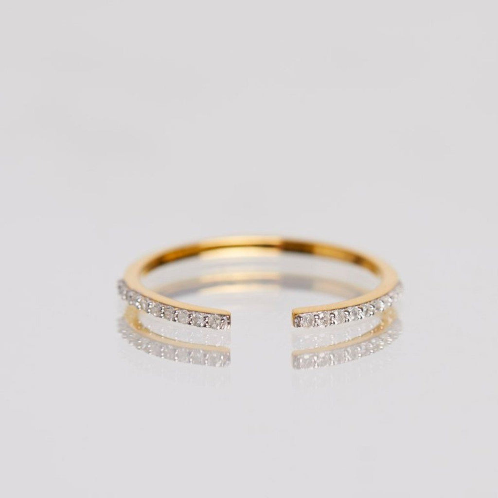 14k Solid Gold Vermeil Open Diamond Ring 450.00 14k Solid Gold, Bands, Diamond, over-80, ring, Solid Gold, Wedding