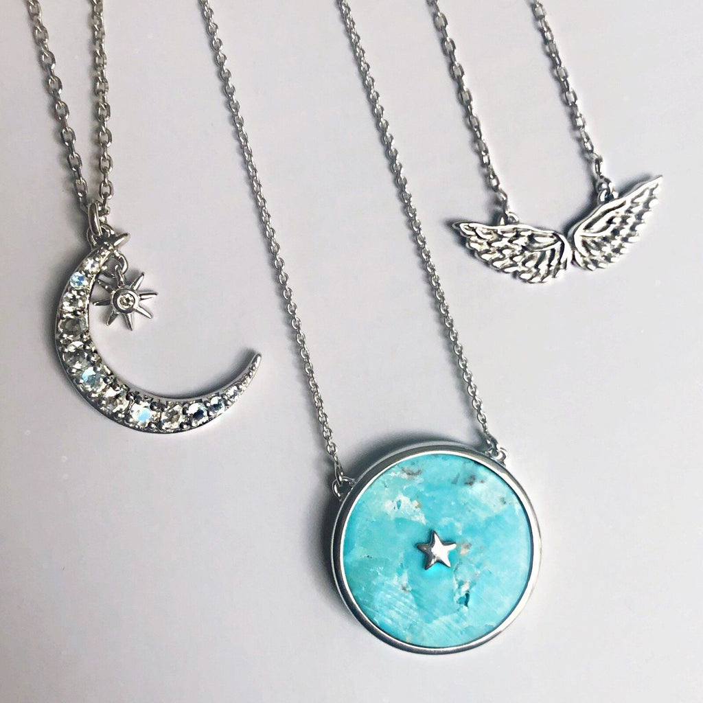 "Sterling Silver Night Sky Pendant in Turquoise  18"", Cosmos, necklace, over-80, Semi Precious, Silver, Turquoise, Valentines"
