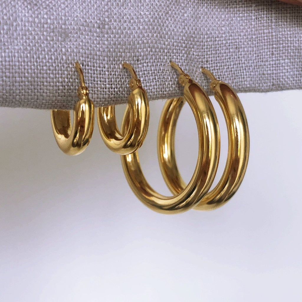 14k Gold Vermeil Large Luxe Chunky Hoop Earrings Earrings Dwarkas