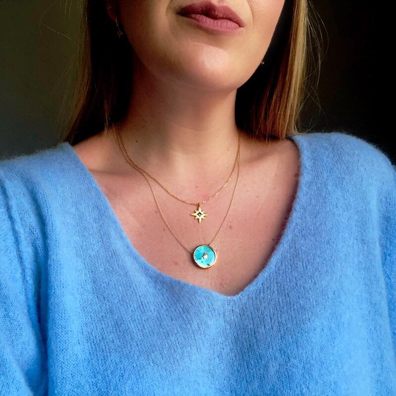 "14k Gold Vermeil Night Sky Pendant Necklace in Turquoise  18"", Best Seller, Cosmos, Gold, necklace, over-80, Turquoise, Valentines"