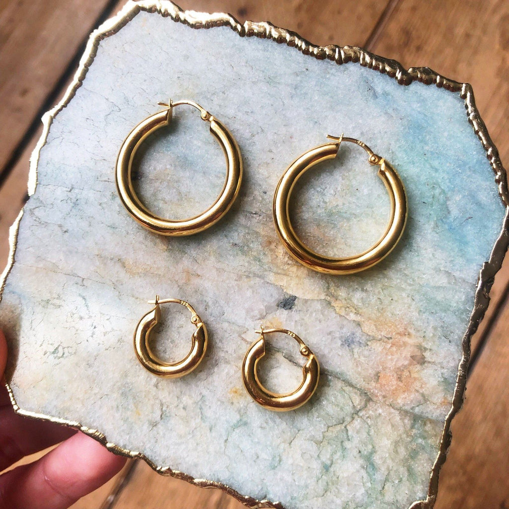 14k Gold Vermeil Large Luxe Chunky Hoop Earrings  earrings, Gold, Hoops, over-80