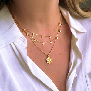14k Gold Vermeil Mini Hanging Coin Pendant Necklace Necklace Malya