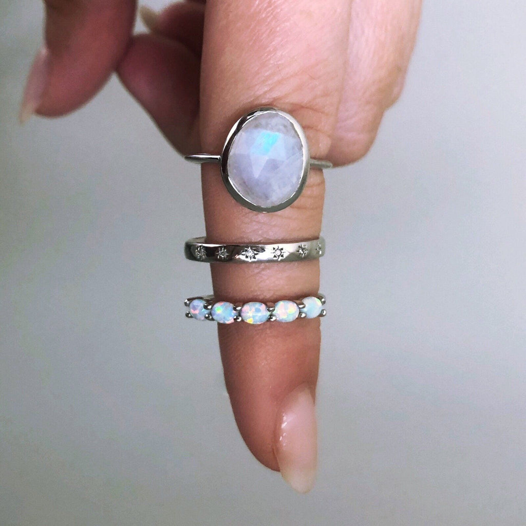 Sterling Silver Simple Semi Precious Stone Ring in Moonstone 75.00 Best Seller, Moonstone, Organic, ring, Semi Precious, Silver, under-80