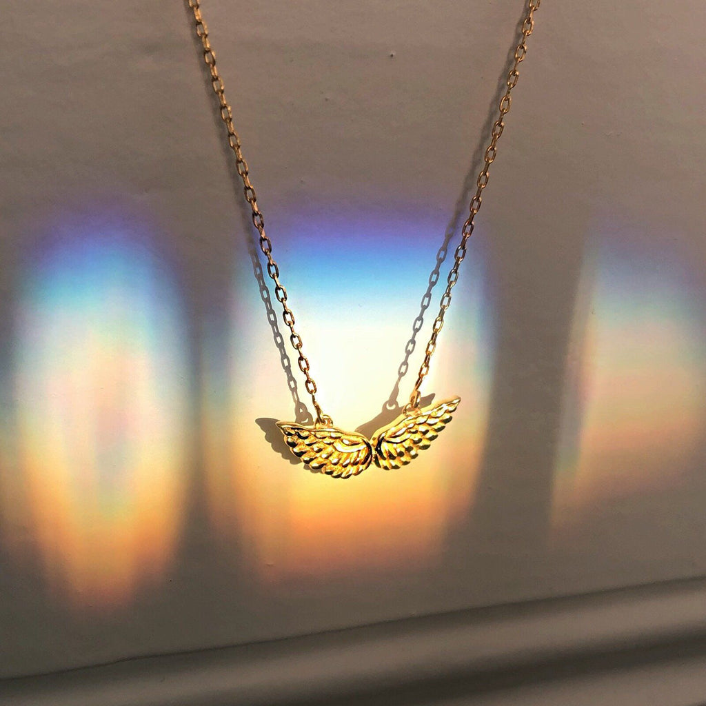 14K Gold Vermeil Mini Angel Wings Necklace Necklace Malya