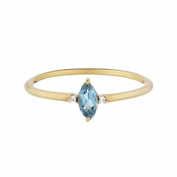 14k Gold Vermeil Dainty Marquise Ring in London Blue Topaz & Diamond