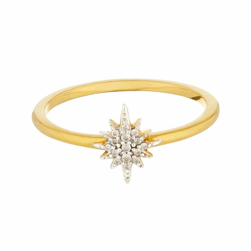 14k Gold Vermeil Mini Snowflake Ring in Diamond Ring Pink City Gold Vermeil Extra Small