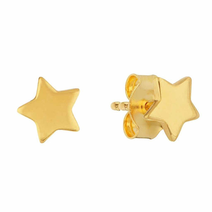 14k Gold Vermeil Mini Star Stud Earrings