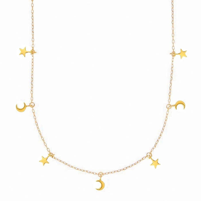 Mini Moon & Stars Hanging Charm Necklace In Gold Vermeil