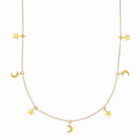 14k Gold Vermeil Mini Hanging Charm Necklace in Moon & Stars
