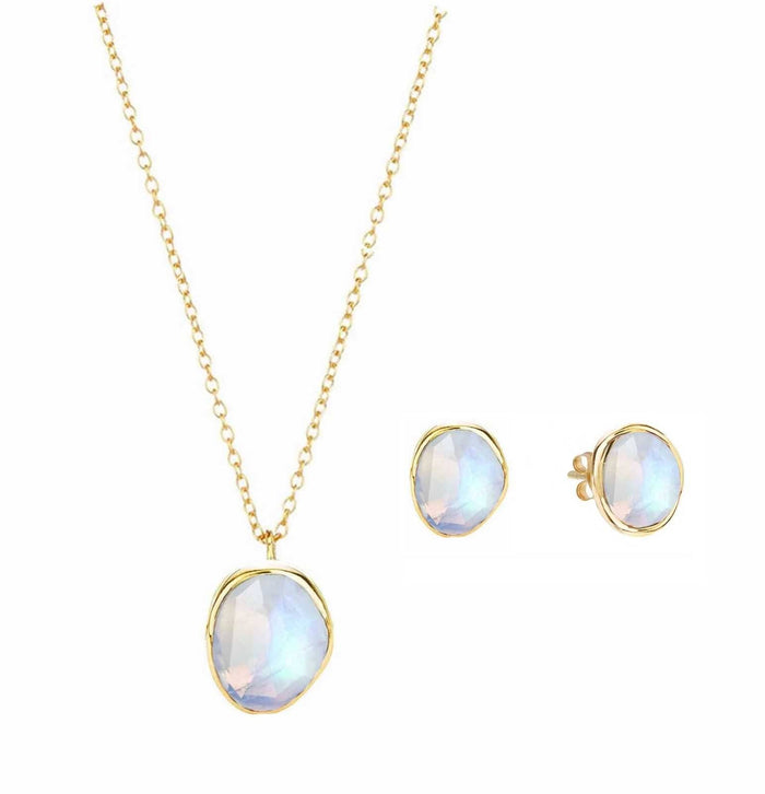14k Gold Vermeil Semi Precious Stone Pendant & Earring Set in Moonstone