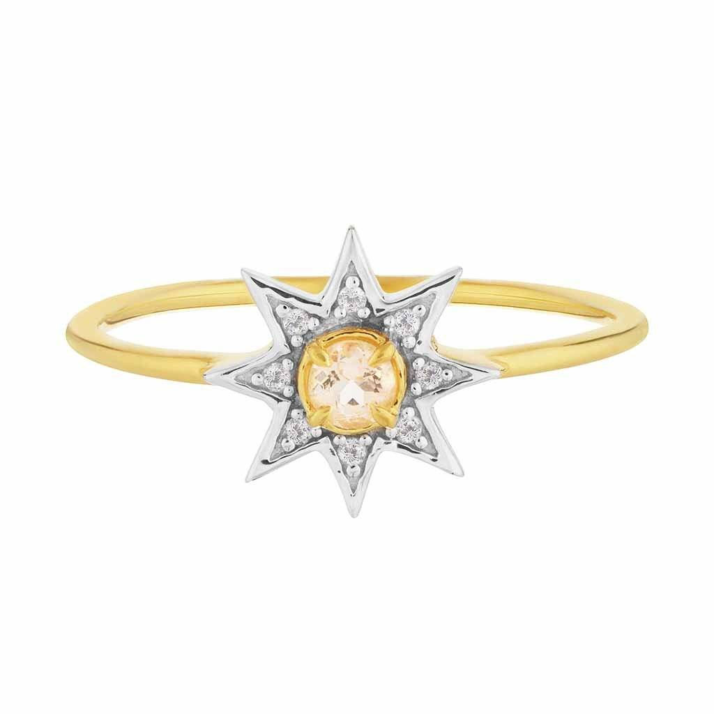 14k Gold Vermeil Morganite & Diamond Pave Star Ring Ring Pink City