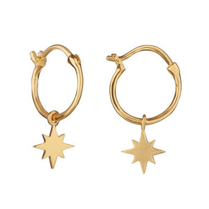 14k Gold Vermeil Star Charm Hoops