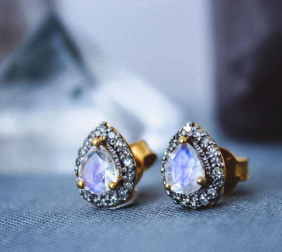 14k Gold Vermeil Pear Shape Moonstone & Diamond Earrings  Diamond, earrings, Gold, Moonstone, over-80, Studs, Valentines