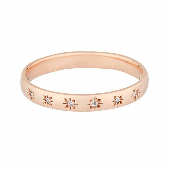 Simple Star Set Diamond Band In 9k Solid Rose Gold