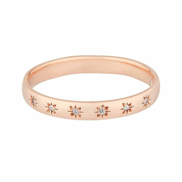 9k Solid Rose Gold Simple Star Set Diamond Band.