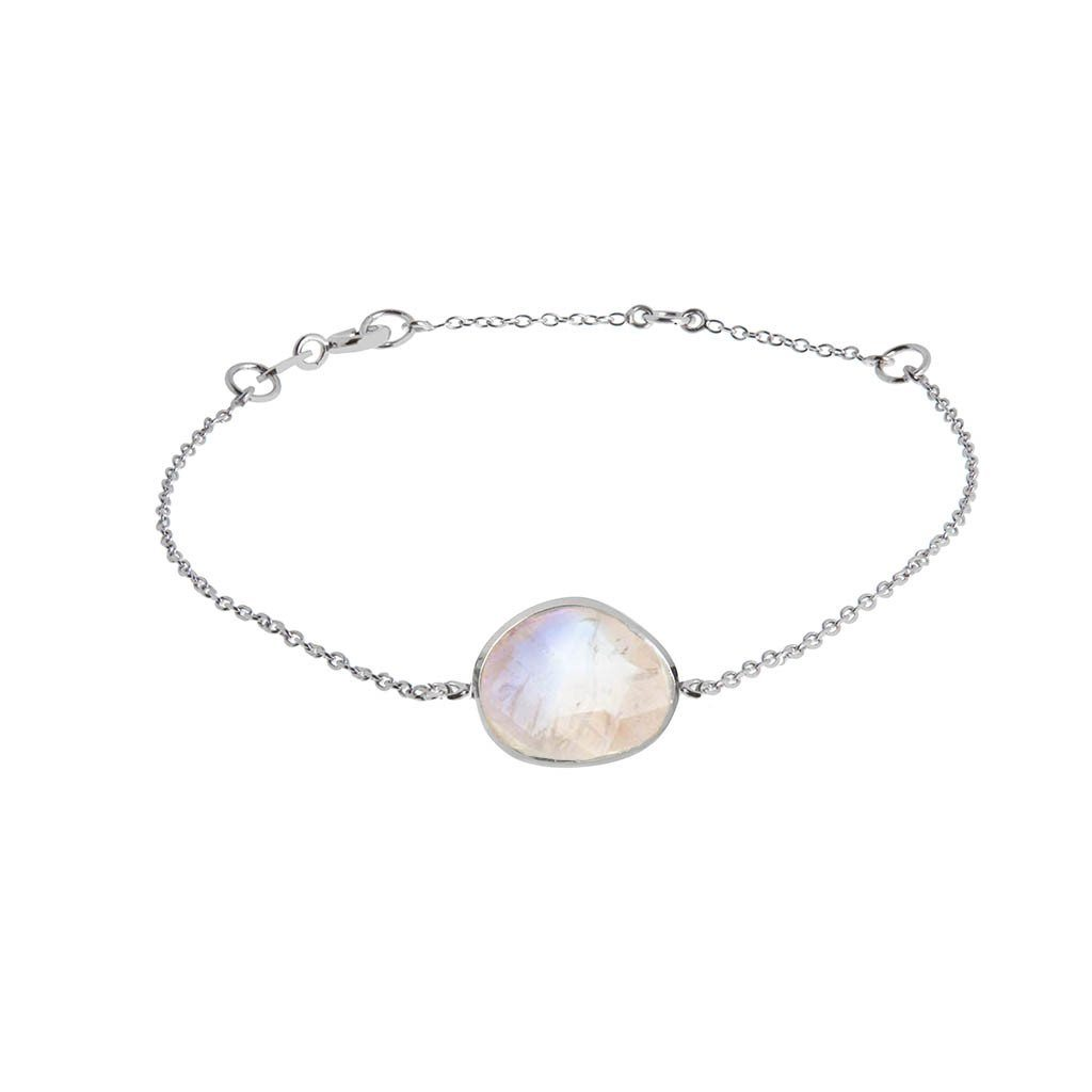 Sterling Silver Semi Precious Stone Bracelet in Moonstone 70.00 bracelet, bride, Bridesmaid, Moonstone, Semi Precious, Silver, under-80