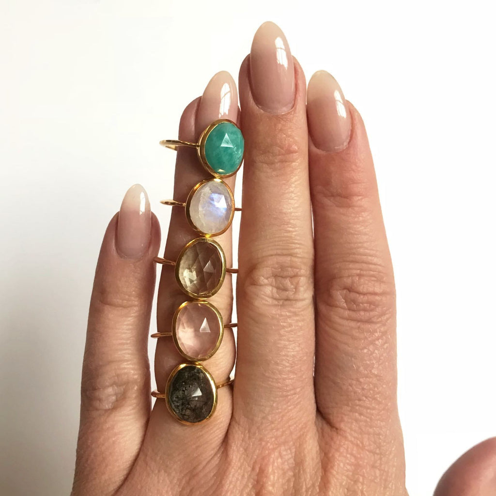 14k Rose Gold Vermeil Simple Semi Precious Stone Ring in Rose Quartz Ring uv overseas