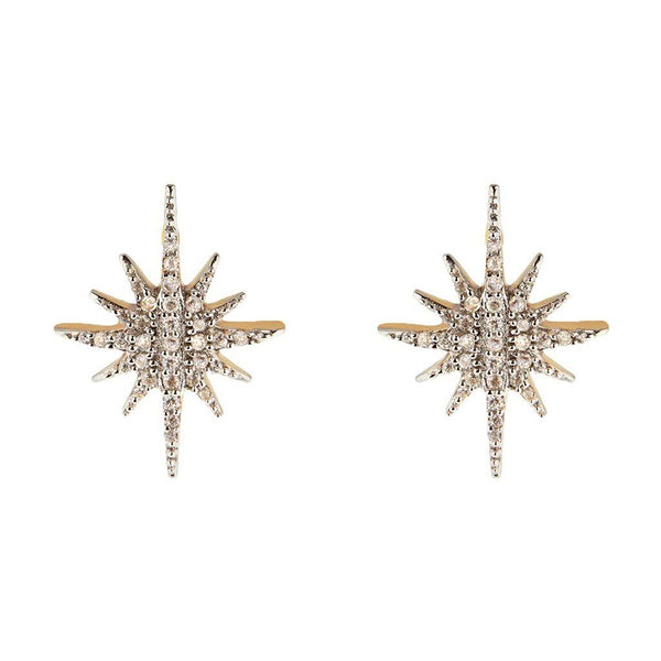14k Gold Vermeil Diamond Starburst Stud Earrings.. Earrings Dwarkas