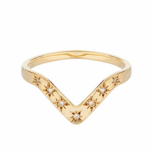 14k Gold Vermeil Diamond Star Set V Band Ring Dwarkas