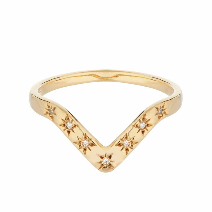 14k Gold Vermeil Diamond Star Set V Band