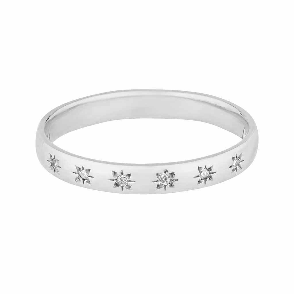 9k Solid White Gold Simple Star Set Diamond Band. Ring Dwarkas