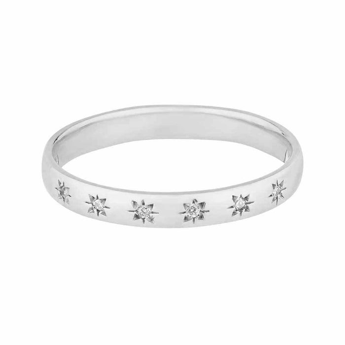 9k Solid White Gold Simple Star Set Diamond Band.