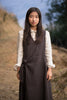 Cache-coeur dress in sumikuro gray-brown linen