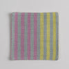 Hand woven cotton coaster - yellow & pink, front