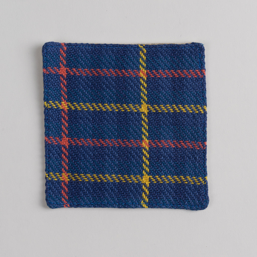 Hand woven cotton coaster - blue & yellow, front