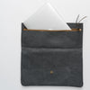 Leather clutch bag - fog gray, opening