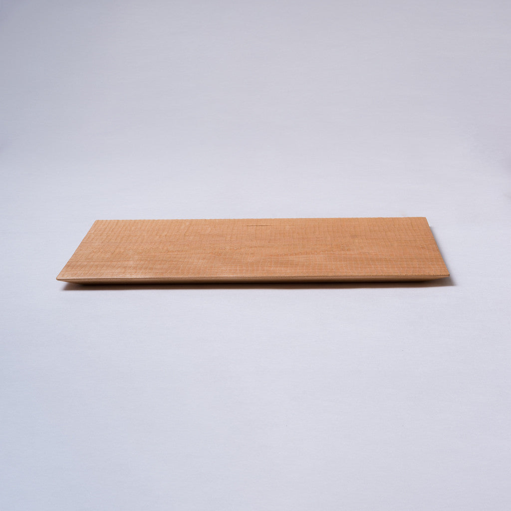 Rectangular plate large - cherry wood, handcrafted, rippled surface