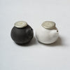 Katsufumi Baba, Sauce cruet in black glaze & matt white finish with pewter lid