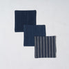 Marukawa Shoten Cotton coaster in fine blue indigo stripes (3 pack) - Matsusaka Momen