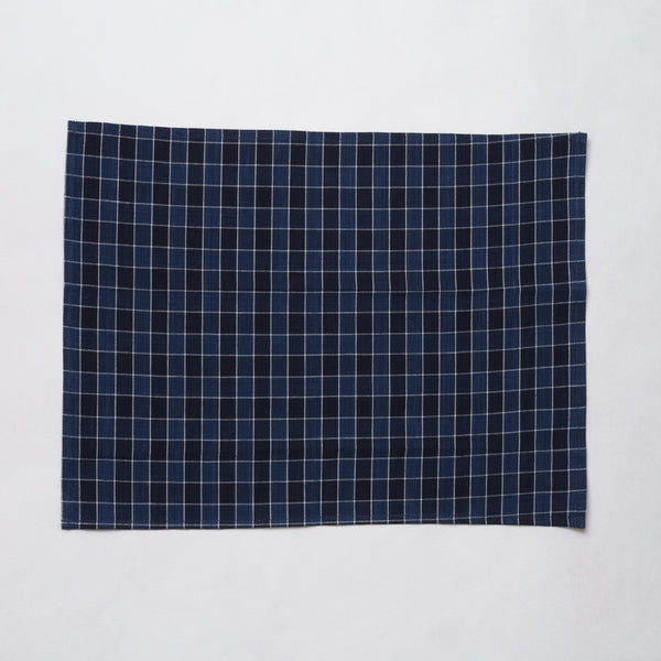 Marukawa Shoten Cotton placemat in blue indigo plaid - Matsusaka Momen